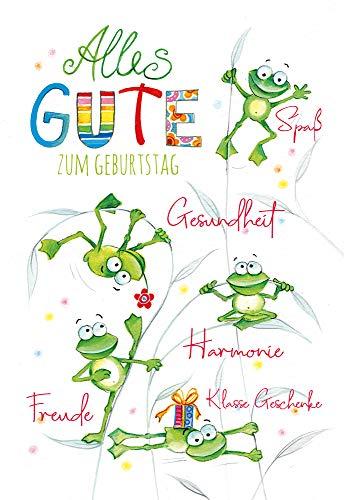 KE - Geburtstagskarte - Geburtstagskarte Frosch - Format DIN B6 176 x 125 mm - Klappkarte inkl. Umschlag