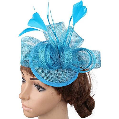 FHKGCD Sombreros Fedora De Carreras De Plumas De Marfil para Mujer Sombrero De Boda Rojo Sinamay para Accesorios para El Cabello De Cóctel, Azul Cielo,