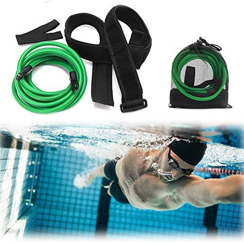 iClosam Cintura da Nuoto Stazionaria Cintura da Nuoto per Piscina Cintura Resistenza Nuoto Allenatore Allenamento Professionale per Bambini Adulti Verde 4M