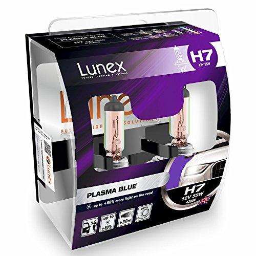 LUNEX H7 PLASMA BLUE Bombillas halógenas Faros Azul 477 12V 55W PX26d 4200K duobox (2 units)