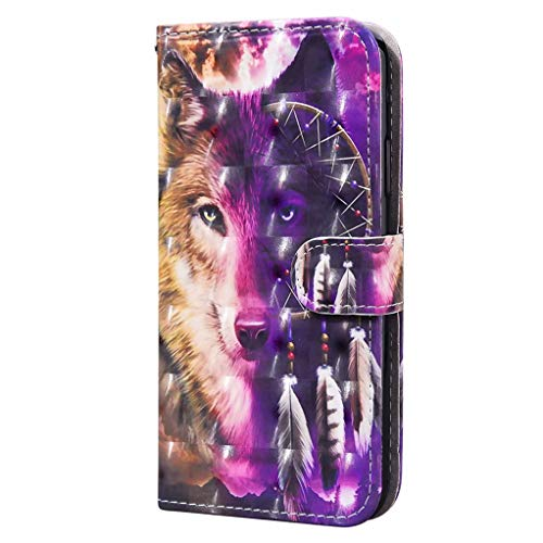CRABOT Compatibile con Samsung Galaxy A50(A30S/A50S),Flip Cover,Anti-goccia,Motivo Animali 3D,Custodia Protettiva in Pelle PU +1*Protezione Schermo Gratuita (Lupo di Carillon di Vento)