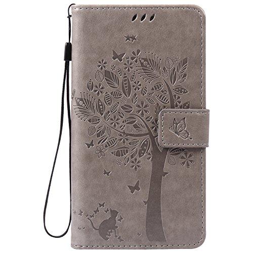 ISAKEN Kompatibel mit Samsung Galaxy Note 3 Hülle, PU Leder Brieftasche Geldbörse Wallet Case Handyhülle Tasche Schutzhülle Hülle mit Handschlaufe Strap für Samsung Galaxy Note 3 - Baum Katze Grau