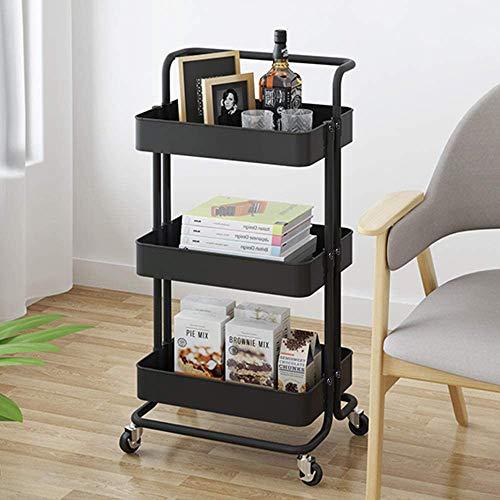 DyAn Black Rolling Utility Cart Pack con 3 Niveles, Carro con 2 Ruedas De Bloqueo, Adecuado para Cocina, Baño, Oficina En Casa