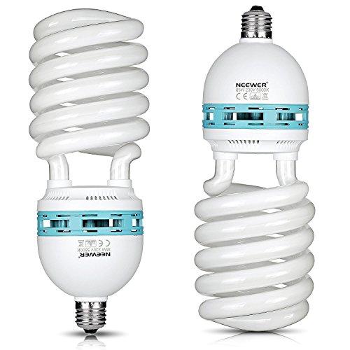 Neewer® 85W 220V 5500K Tri-Phosphor-Spirale CFL Tageslicht Balanced Glühbirne Glühlampe in E27 Fassung für Fotografie und Videostudiobeleuchtung (2 Pack 85W)