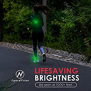 LED Safety Light (2 Pack) - Clip On Strobe/Running Lights for Runners, Dog, Bike, Walking, Boat, Kayak, Stroller and More - High Visibility Accessories for Your Reflective Gear, Bicycle, Green