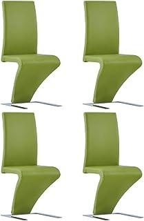 Irfora Taburete de Barra de Cocina|sillas de Comedor Modernas |Sillas de Comedor Forma de Zigzag 4 uds Cuero sintético Verde sillas de Comedor Modernas