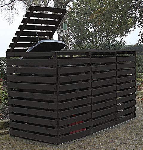 Promadino Mülltonnenbox Vario V Müllbox für 3 Mülltonnen ANTHRAZIT 512303 Holz