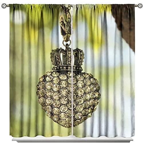 MRFSY Tenda oscurante con ciondolo a forma di cuore e corona di strass, per collana e collane, decorazione per la camera delle ragazze, 2 pannelli, 107 x 160 cm