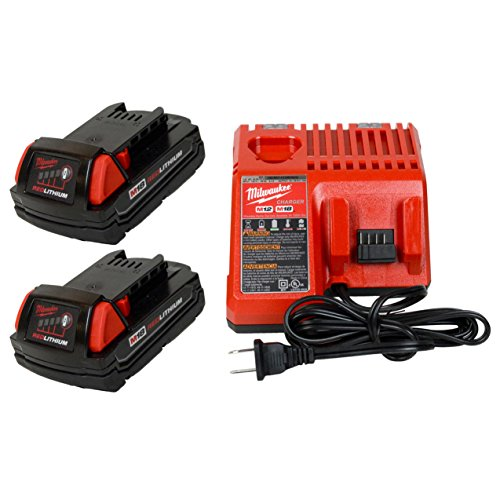 Milwaukee 48-59-1812 M12/M18 Battery charger & (2) 48-11-1815 18V 1.5Ah Batteries