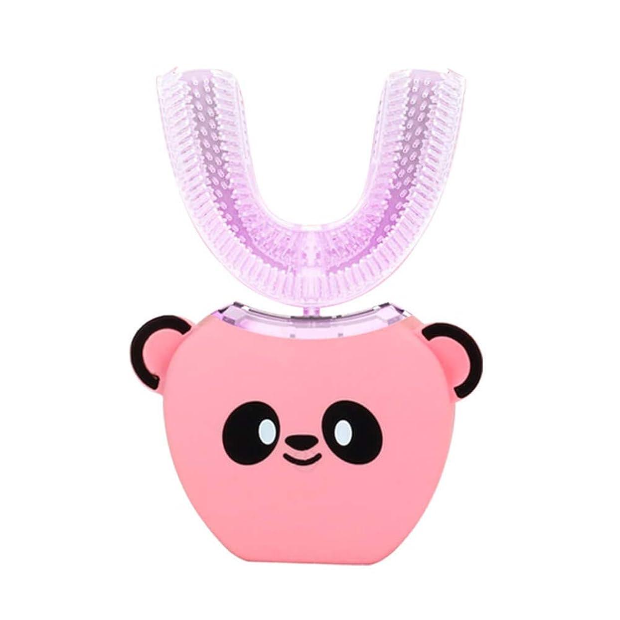 鷲大学生動力学電動歯ブラシ 360°超音波ホワイトニング IPX7防水自動マウスクリーナー子供のための ピンク