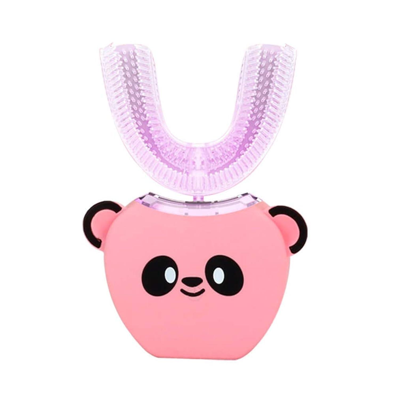 吐き出す丘年電動歯ブラシ 360°超音波ホワイトニング IPX7防水自動マウスクリーナー子供のための ピンク