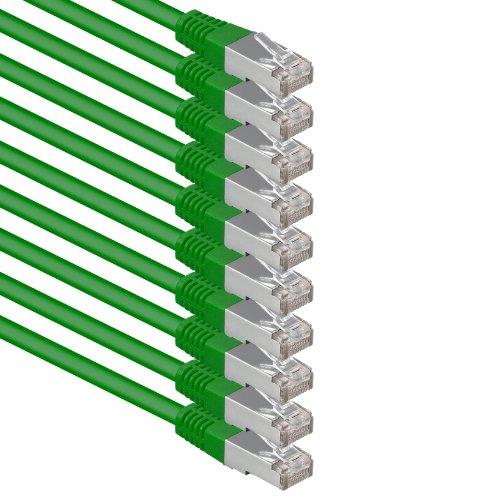 1aTTack.de® 0,5m - Verde - 10 Piezas - CAT6 Cat 6 Ethernet...