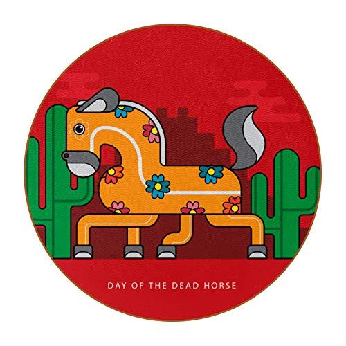 6 posavasos redondos de microfibra de piel antideslizante y resistente a los arañazos para el hogar, la cocina, la oficina, la barra decorativa, el día de los muertos, color rojo