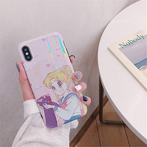 for iPhone 6 Case 6s Cover, Japan Anime Cartoon Sailor Moon Case Kawaii Slim Smooth Silicone Soft Phone Case Back Cover for iPhone Xs Max XR 6S 7 8 Plus (Pink, for iPhone 6/6s)