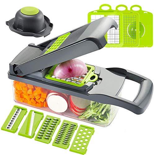 Cortador de Verduras, Picador de Cebolla, Rallador de Patatas Multifunción de acero inoxidable 7 en 1 con recipiente para frutas y verduras de cocina (Gris)