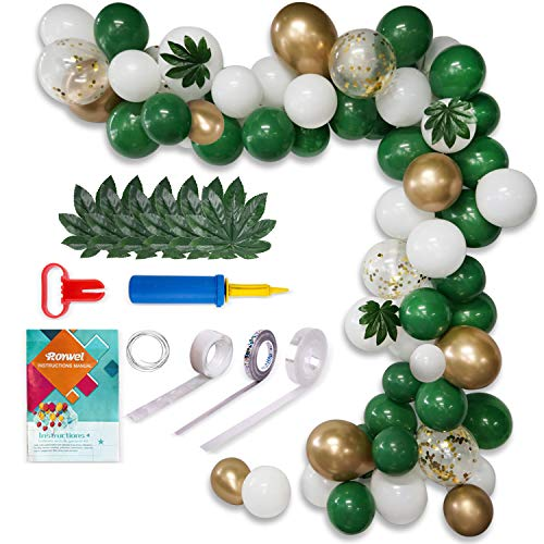 Balloons for Parties,Garland Latex Balloon Arch Ganland Kit 82 Pieces   White   Gold   Green   Confetti Balloons for Baby Showers, Weddings, Graduations, Corporate Events, Engagements