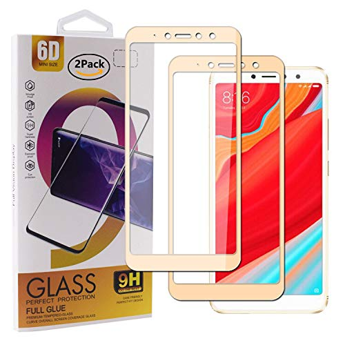 Guran [2 Paquete Protector de Pantalla para Xiaomi Redmi S2 Smartphone Cobertura Completa Protección 9H Dureza Alta Definicion Vidrio Templado Película - Dorado