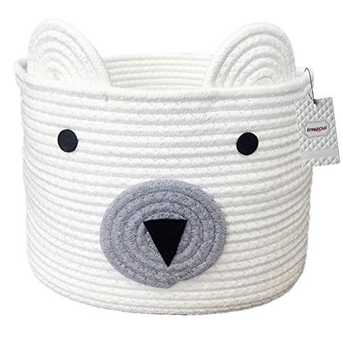 Inwagui Baumwolle Seil Korb Baby Aufbewahrungskörbe Bär Wäschekorb Faltbare Kinder Aufbewahrungsbox für Spielzeug Kinderzimmer Dekokorb - Weiß
