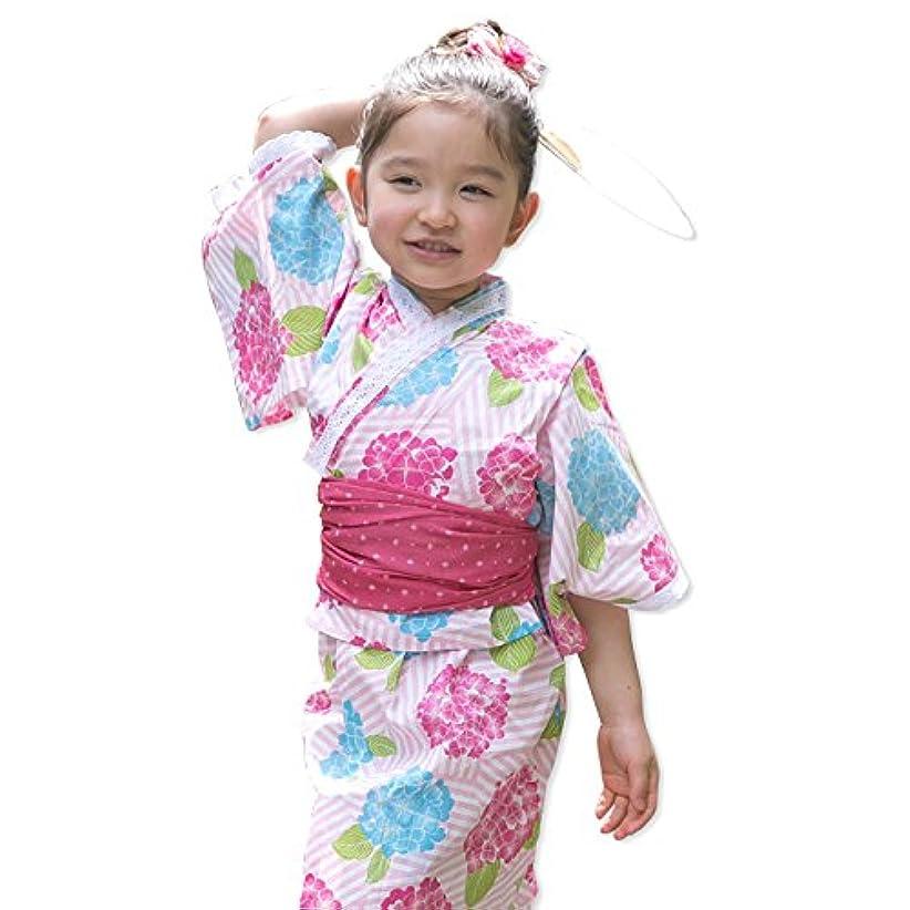 成功する選ぶスカープ浴衣 子供 セット キッズ ベビー ドレス サンドレス セパレート 花柄 帯セット Pinky Flash アジサイ赤 80cm 3357090607RE80