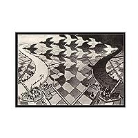 Escherシュールな幾何学的なキャンバスの絵画のポスターと壁に写真を印刷ヴィンテージモダンな装飾的な家の装飾50x75cmフレームレス