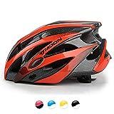 MOON 自転車 ヘルメット ロードバイク サイクリング ヘルメット 超軽量 高剛性 サイズ調整 25通気穴 スポーツ 大人 男女兼用 (ブラックレッド — L)