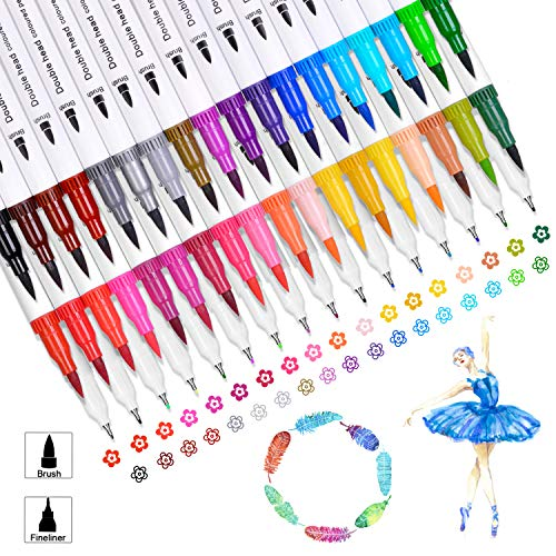 100 Colors Flexible Brush and Fineliner Tips Watercolor Pen Dual Tip Paint Markers Set for Kid Adult Coloring Books Manga Artist Calligraphy Drawing Hand Lettering Art Bullet Journal Pens