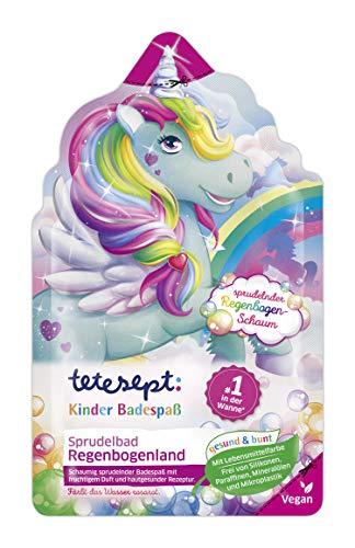 """tetesept Kinder Badespaß Sprudelbad \""""Regenbogenland\"""" mit fruchtigem Duft und sprudelndem Einhorn-Schaum – bunter Badeschaum und rosarotes Wasser – 1 x 40 g"""