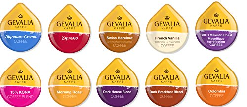 10 TASSIMO® T-Disc GEVALIA Sampler! 10 unique GEVALIA only varieties! Kona, Crema, Espresso+