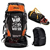 Mufubu Presents Get Unbarred 55 LTR Rucksack for Trekking, Hiking with Shoe Compartment and Duffel...