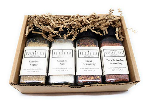 Whiskey Oak Seasonings 4-Jar Gift Box - 11.25 oz Smoked Salt, Smoked Sugar, Steak and Pork & Poultry Seasonings + Recipes - Smoked using Oak Whiskey Barrels, Whiskey Oak Seasonings
