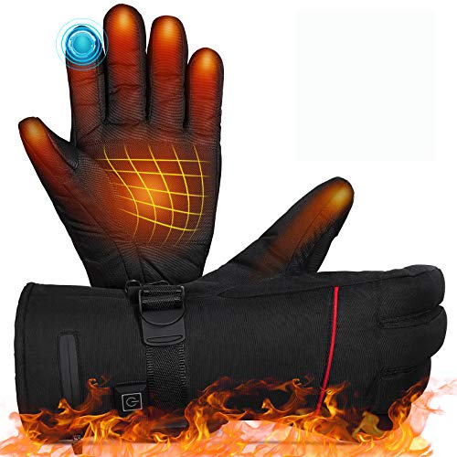 MOVTOTOP Heated Gloves,Battery Heated Gloves for Men Women Rechargeable Waterproof 【2020 Newest 】 3 Heating Temperature Adjustable Touchscreen Heated Motorcycle Gloves for Outdoor Activities(Red)