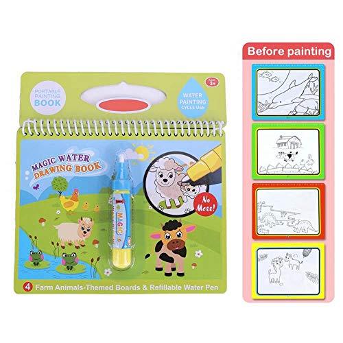 Libro de Dibujo acuático, Libro portátil Colorear con Agua mágica portátil lápiz mágico Libro Dibujo con Agua niños pequeños Regalo Juguete niños(Granja)
