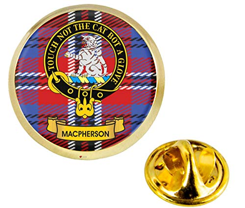 MacPherson Scottish Clan Crest Lapel Pin Badge in Gold Colour Product Of Scotland