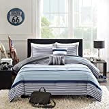 OSD Black 5pc Boys Navy Blue White Grey Stripes Comforter Full Queen Set, Horizontal Gray Striped Bedding Rugby Stripe Sports Themed Nautical Pattern Modern Lines Pattern Dorm College, Polyester