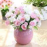 xgruisi Fleur Artificielle Décoration De La Maison Et Vase dans Le Pot De Fleur en Plastique 2 Morceaux De Bouquet De Rayonne (Couleur 19Ème)