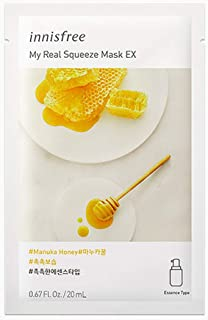 """Best Innisfree My Real Squeeze Mask Sheet 18 types 20m x 5 pcs """" New products launched in September 2017 """" (5. Manuka Honey) Review"""