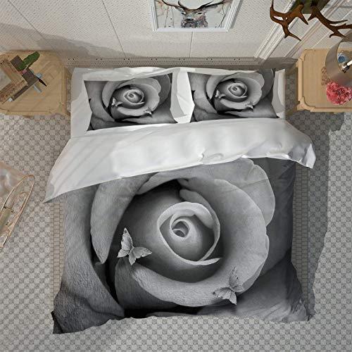 HKDGHTHJ Edredón Infantil Imagen Creativa 3D Mariposa Rosa Blanco y Negro 220 x 230 CM Juego de Cama Moderno Sábana Plana Funda nórdica Funda de Almohada Ropa de Cama Lateral Textiles para el hogar