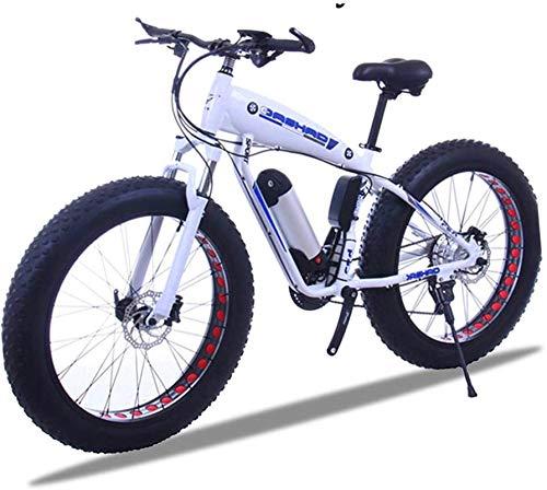 Bicicleta de montaña eléctrica, 26 pulgadas de grasa Bicicleta eléctrica 48V 15Ah nieve e-bicicleta 21/24/27/30 Velocidades Playa Cruiser Mens Mountain Mountain Bikes eléctricos con freno de disco (Co