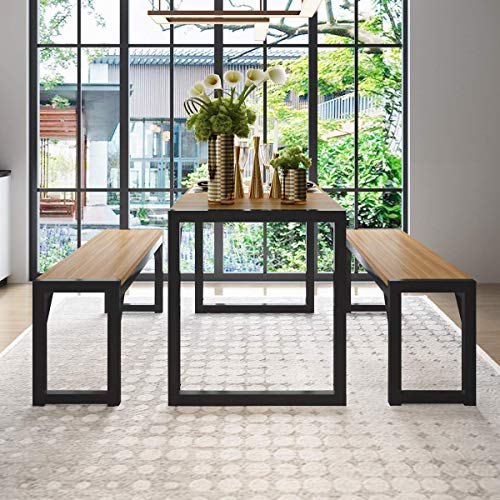 """Decok 3 Pieces XL Large Dining Table Set for 6 People,48 Inch Kitchen Table with Two 47"""" Benches,Particle Board Top and Metal Frame,Perfect for Breakfast Nook, Living Room,Industrial,Brown and Black"""