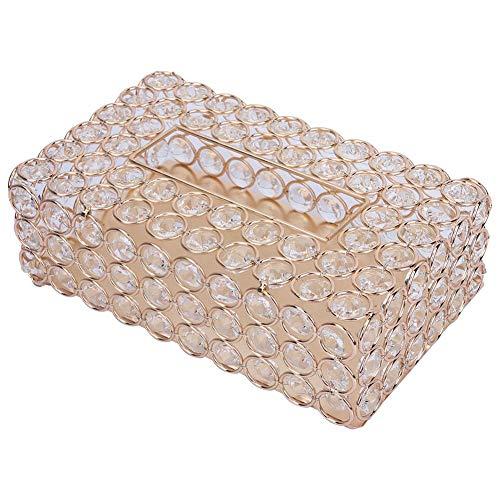 Rechteckigen Kristall Tissue Box Cover Edelstahl Serviettenkoffer für Lagerung und Wohnkultur(Gold)