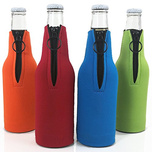 Beer Bottle Neoprene Collapsible, Assorted Colors Set of 4