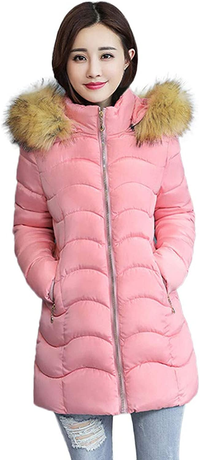 Women Thicker Down Parka Jacket Slim Puffer Coat with Faux Fur Trim Hooded Overcoat