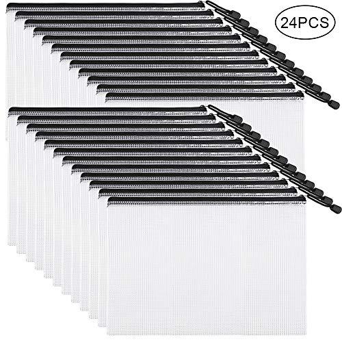 EOOUT 24pcs Mesh Zipper Pouch Document Bag, Plastic Zip File Folders, Letter Size/A4 Size, Black, for School Office Supplies, Travel Storage