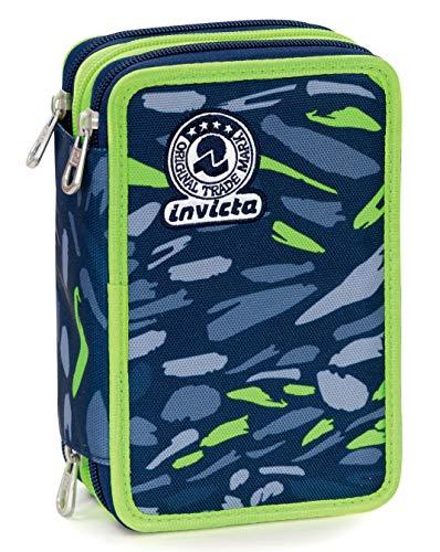 Astuccio 3 Zip Invicta Art, Blu, Con materiale scolastico: 18 pennarelli Giotto Turbo Color, 18 matite Giotto Laccato…
