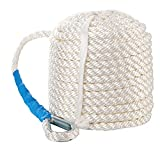 B4B BANG 4 BUCK 1/2 Inch 100 Feet Three White Braided Anchor Rope - Nylon Docking Line for Boat Pulling, Mooring and Towing - with Thimble and Heavy Duty 5850LB Breaking Strain