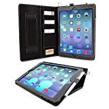 Snugg iPad 9.7 (2018/2017) & iPad Air Executive Case, Black Leather Smart Case Cover Apple iPad Air and New iPad 2017 9.7' Protective Flip Stand Cover with Pocket and Card Slots