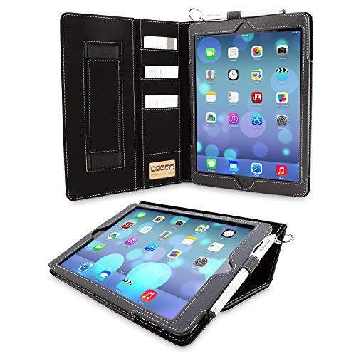 """Snugg iPad 9.7 (2018/2017) & iPad Air Executive Case, Black Leather Smart Case Cover Apple iPad Air and New iPad 2017 9.7"""" Protective Flip Stand Cover with Pocket and Card Slots"""