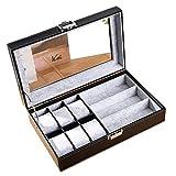FIONAT Boîte à Montres boîte à Bijoux Homme Femme Cadeau Voyage Cuir synthétique Lunettes Bijoux boîte de Rangement de Toit ouvrant 30 * 20.5 * 8cm, Style 1