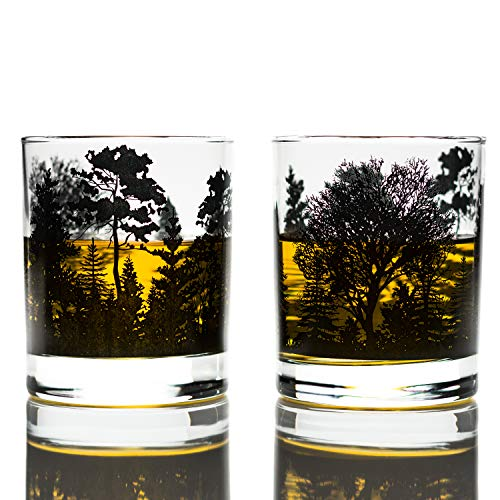Greenline Goods Whiskey Glasses - Forest Landscape Glasses (Set of 2) | 10 Oz Tumbler Gift Set | Old Fashioned Rocks Glass