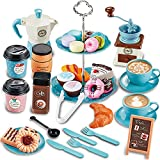 GIFTRRTOY Pretend Tea Party Set for Little Girls, 38 PCS Coffee Maker Set and Play Food Dessert Set for Kids Age 3 4 5 6 7 8 9, Kids Kitchen Pretend Play for Princess Girls Boys